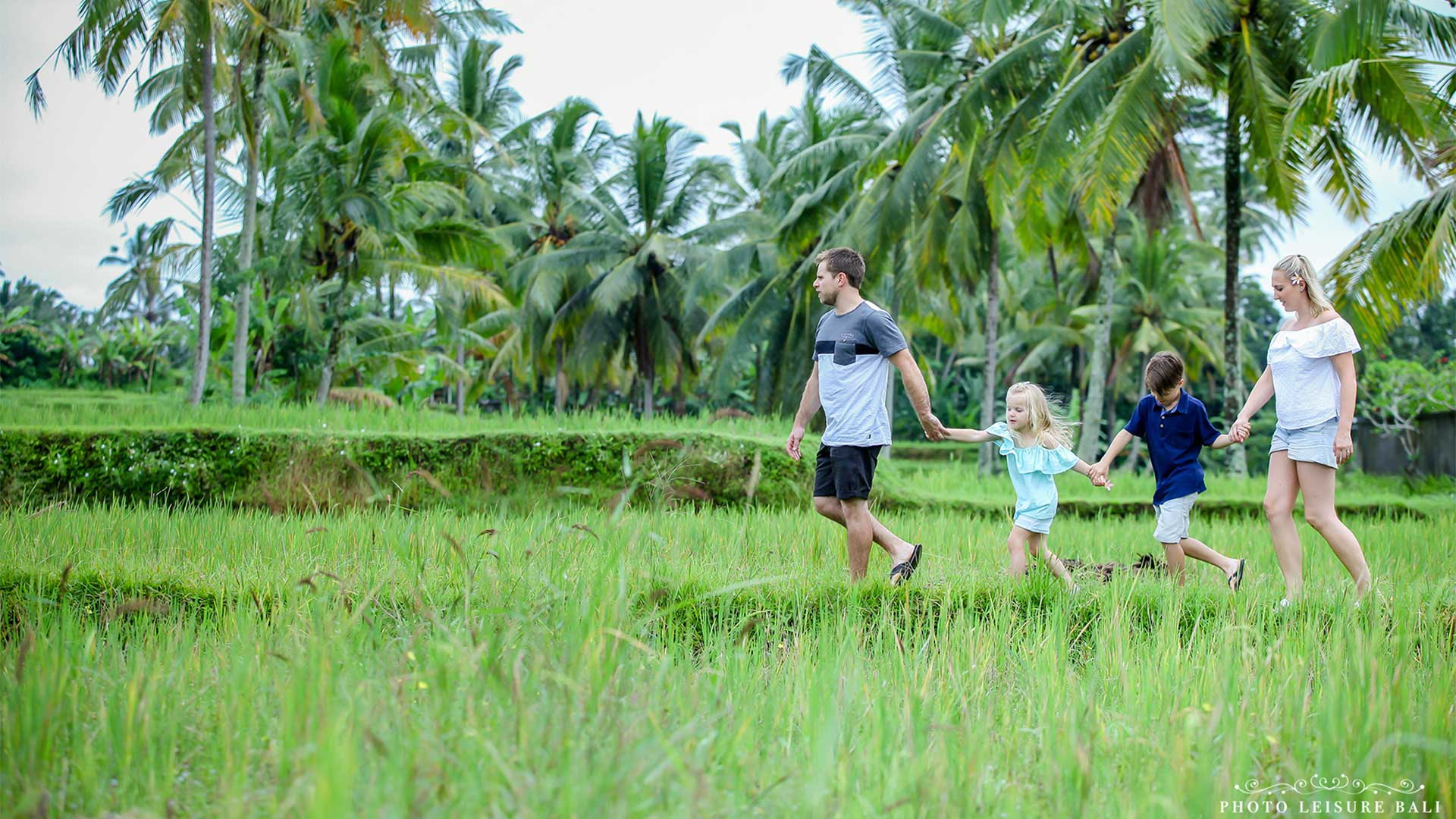 walking with your family at field rice by dedary kriyamaha villa 2